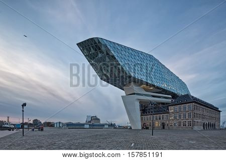 Antwerp Belgium - October 2016: The new Port House in Antwerp repurposes renovates into a new headaquarters for the port creates by Zaha Hadid her last project