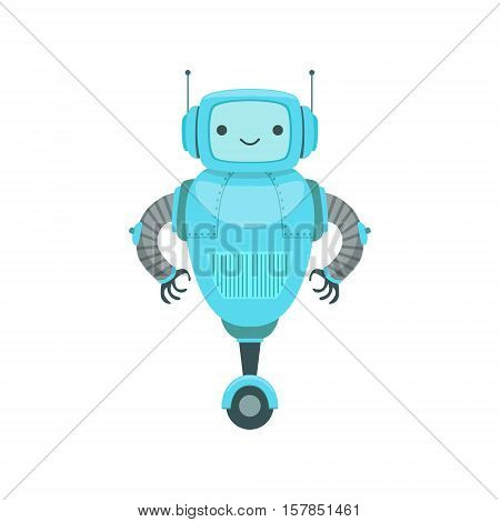 Blue Friendly Android Robot Character With Two Antennas Vector Cartoon Illustration. Futuristic Bionic Person Portrait In Childish Manner, Part Of Fantasy Droids Collection.