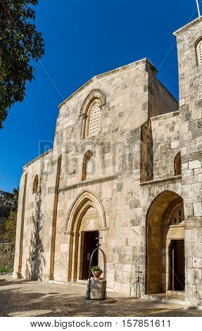West facade of the Church of St. Anne - the Roman Catholic church located at the start of the Via Dolorosa near the Lions' Gate in the Muslim Quarter of the Old City of Jerusalem Israel.