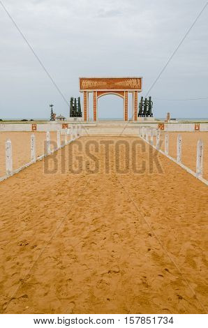 Monument or memorial of the slave trading time at the coast of Benin near Ouidah.