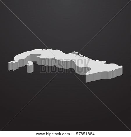 Cuba map in gray on a black background 3d
