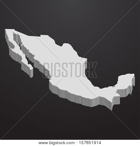 Mexico map in gray on a black background 3d