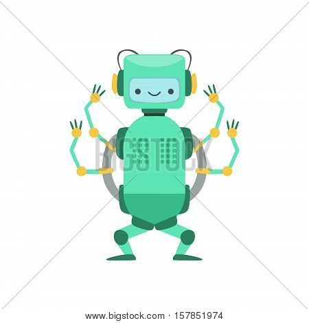 Green Friendly Android Robot Character With Four Arms Vector Cartoon Illustration. Futuristic Bionic Person Portrait In Childish Manner, Part Of Fantasy Droids Collection.