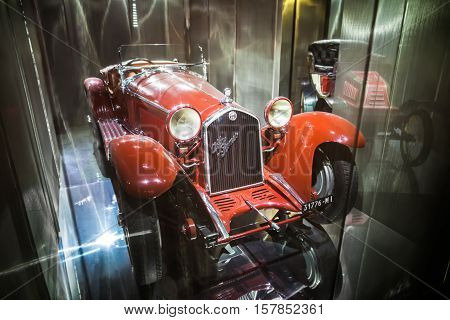 Milan, Italy - June 9, 2016: Retro Car Alfa Romeo At The Science And Technology Museum Leonardo Da V