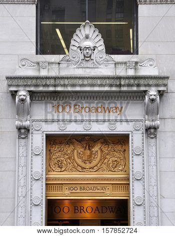 NEW YORK CITY - JAN 12, 2013: Gate of 100 Broadway Building at Broadway, Lower Manhattan, New York City, USA.