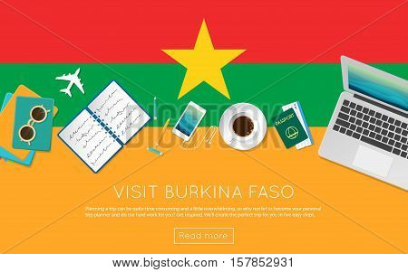 Visit Burkina Faso Concept For Your Web Banner Or Print Materials. Top View Of A Laptop, Sunglasses