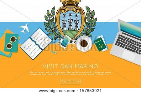Visit San Marino Concept For Your Web Banner Or Print Materials. Top View Of A Laptop, Sunglasses An
