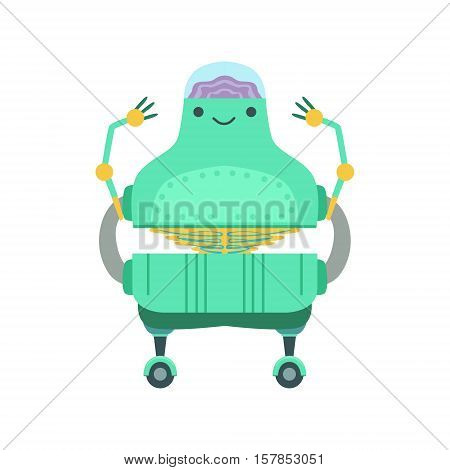 Friendly Android Robot Character With Transparent Brain Vector Cartoon Illustration. Futuristic Bionic Person Portrait In Childish Manner, Part Of Fantasy Droids Collection.