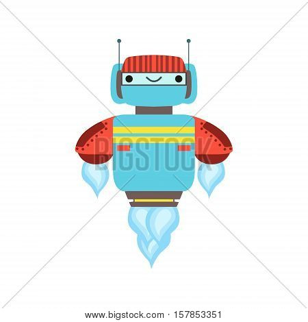 Blue And Red Friendly Android Robot Character Floating Mid Air Vector Cartoon Illustration. Futuristic Bionic Person Portrait In Childish Manner, Part Of Fantasy Droids Collection.
