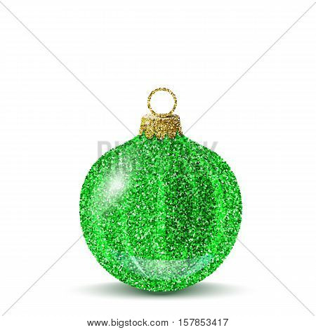 Isolated green christmas ball. Shiny glitter sequins texture. Realistic decoration for christmas tree or new year. Brilliance sparkle. Vector EPS10 illustration.