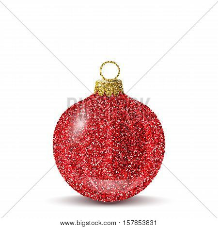Isolated red christmas ball. Shiny glitter sequins texture. Realistic decoration for christmas tree or new year. Brilliance sparkle. Vector EPS10 illustration.