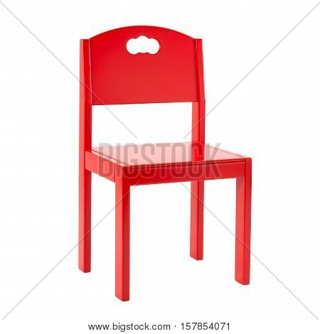 Wooden red chair for children isolated on white background.