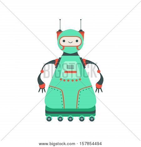 Green Friendly Android Robot Character On Six Wheels Vector Cartoon Illustration. Futuristic Bionic Person Portrait In Childish Manner, Part Of Fantasy Droids Collection.
