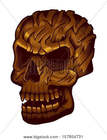 Tribal Bronze Skull Tattoo Dead Metal Human Head