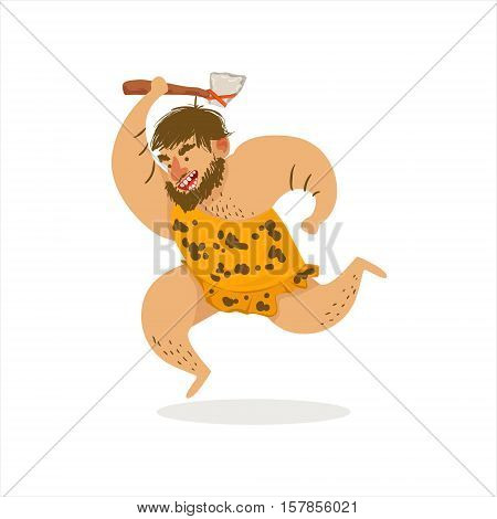 Hunter With Axe Running Cartoon Illustration Of First Homo Sapiens Troglodyte In Animal Pelt Living In Stone Age. Part Of Prehistoric Neanderthal Caveman And Their Historical Surroundings Collection Of Vector Drawings.