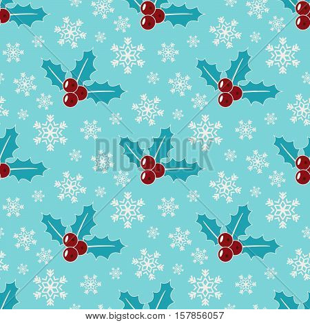 Mistletoe and snowflakes. Seamless christmas patern, blue color