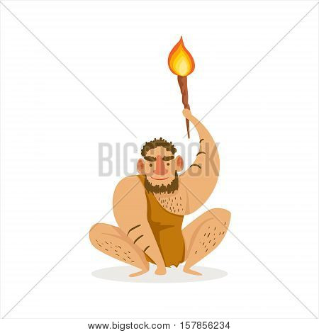 Hairy Man Crouching With Alite Torch Cartoon Illustration Of First Homo Sapiens Troglodyte In Animal Pelt Living In Stone Age. Part Of Prehistoric Neanderthal Caveman And Their Historical Surroundings Collection Of Vector Drawings.