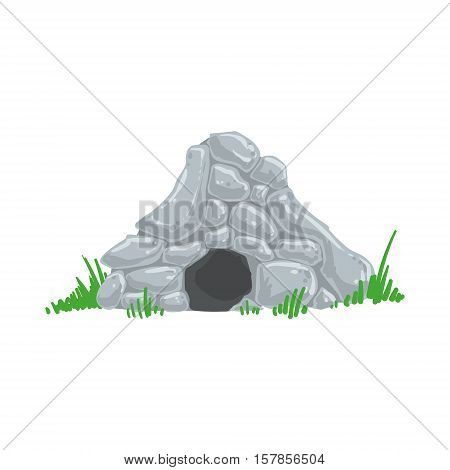 Primitive Stone Age Cave Troglodyte House Man Made Out Of Grey Rocks Living Place. Part Of Prehistoric Neanderthal Caveman And Their Historical Surroundings Collection Of Vector Drawings.