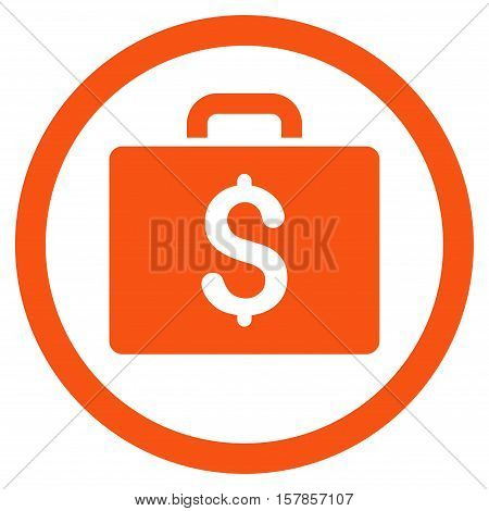 Accounting Case vector rounded icon. Image style is a flat icon symbol inside a circle, orange color, white background.