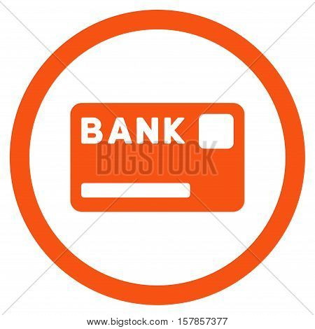 Bank Card vector rounded icon. Image style is a flat icon symbol inside a circle, orange color, white background.
