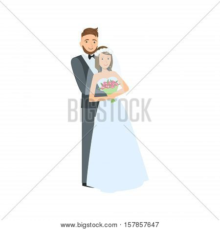 Bride And Groom Newlywed Couple In Traditional Wedding Dress With The Veil And Suit Smiling And Posing For Photo. Happy Young Couple On A Wedding Day In Classic Clothing Vector Illustration.