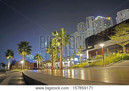 Promenade View In Dubai Marina At Night