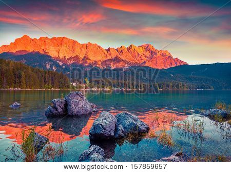 Colorful Summer Scene On The Eibsee Lake In German Alps