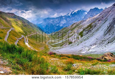 View From The Top Of Famous Italian Stelvio High Alpine Road