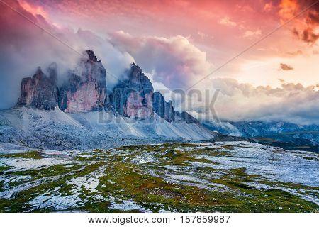Dramatic Summer Scene In National Park Tre Cime Di Lavaredo