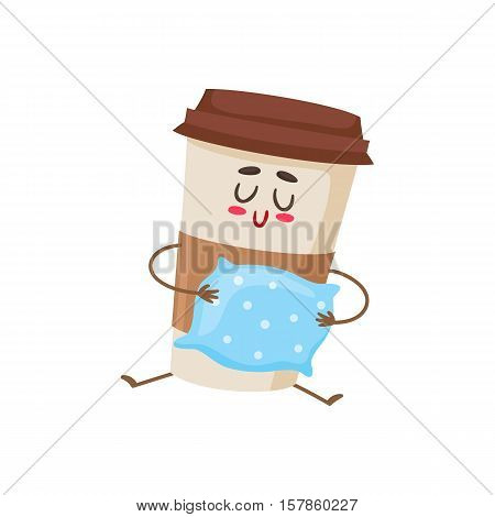 Funny sleepy paper coffee cup character with a pillow, cartoon style vector illustration isolated on white background. Cute take away coffee cup character, waking up concept