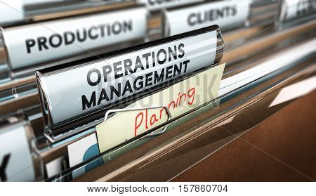 3D illustration of a folder focus on a tab with the text operations management and a note with the word planning. concept of production process organization.