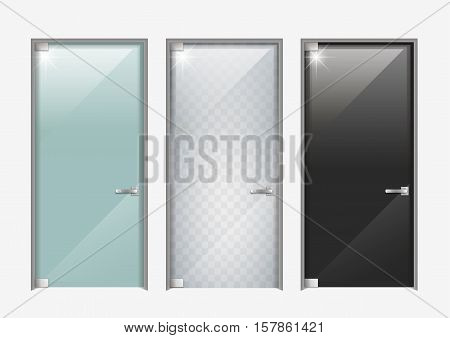 Modern glass doors. The transparent matte and black. Vector graphics