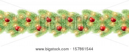 Christmas decoration garland seamless. Realistic design element garland with balls for Christmas backgrounds. Ornaments Xmas Holiday greeting card design