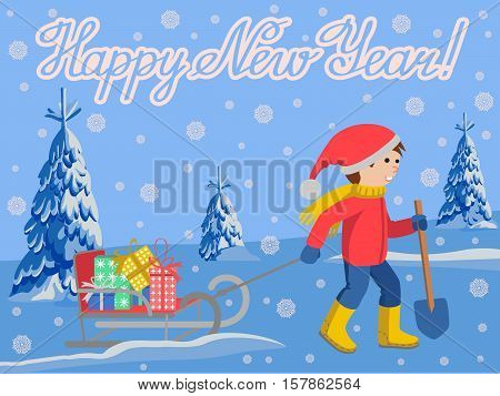 Vector illustration of congratulation card new year with little child in winter clothes pulling a sled, cartoon style vector illustration landscape fire in snow. Little kid in big scarf and warm winter clothes with a toboggan