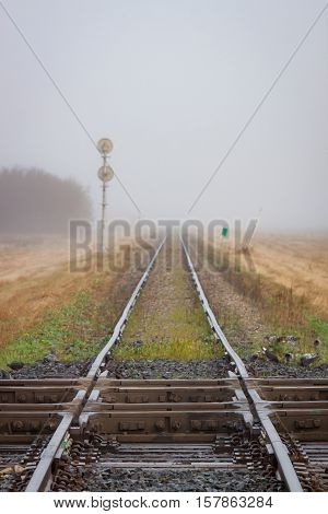 Two railroads cross in the foreground with a lonely track stretching into the foggy distance
