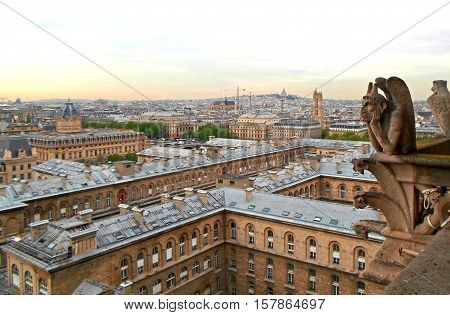 The View from the tower of Notre Dame de Paris. Panorama of city with a Chimera. Spring in Paris, France