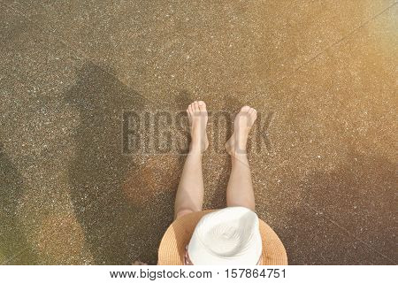 Top View On Woman In Water