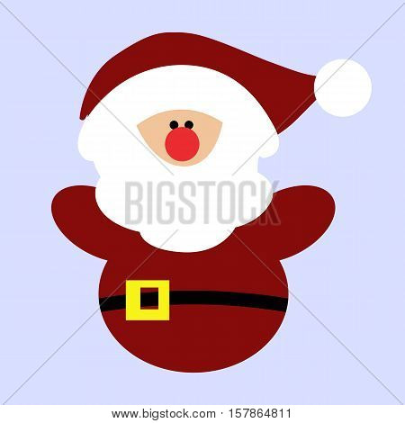 Colored icon baby Santa Claus in red clothes on blue background. Winter vector illustration. Pattern to decorate or design scrapbook. Baby shower