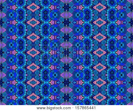 Ethnic seamless striped pattern with flowers. Vector background in blue and pink tones. Print for fabric.