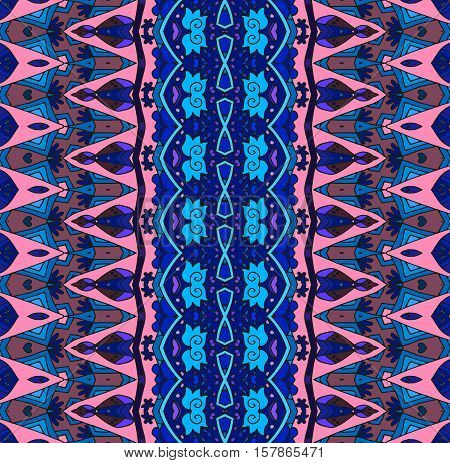 Abstract seamless striped pattern. Oriental vector background in blue and pink tones. Print for fabric.