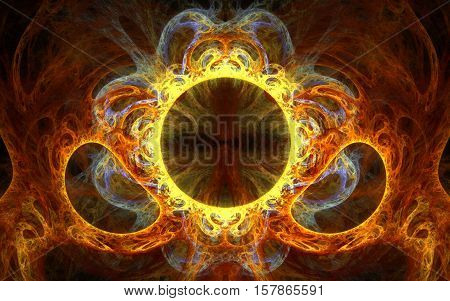 fractal abstract illustration of a variety of round and oval shapes composed of lines orange yellow gray colors