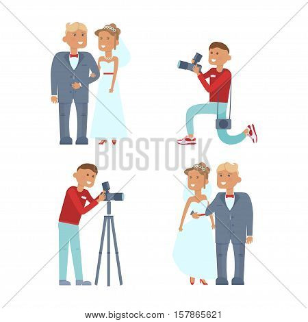 Set of wedding couple and photographer characters infographic. Cartoon style. Vector illustration isolated
