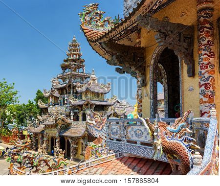 The Beautiful Linh Phuoc Pagoda In Mosaic Style From Shards Of Glass, Pottery And Porcelain In Da La