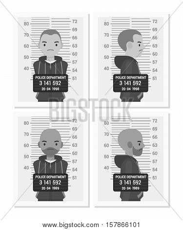 Set of balck and white male mugshots taken after arrest. Cartoon vector flat-style concept illustration
