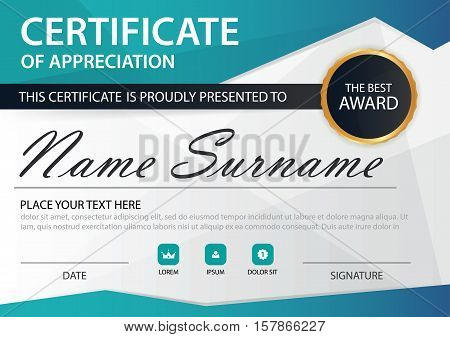 Blue polygon Elegance horizontal certificate with Vector illustration white frame certificate template with clean and modern pattern presentation