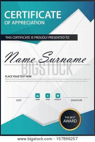 Blue polygon Elegance vertical certificate with Vector illustration white frame certificate template with clean and modern pattern presentation