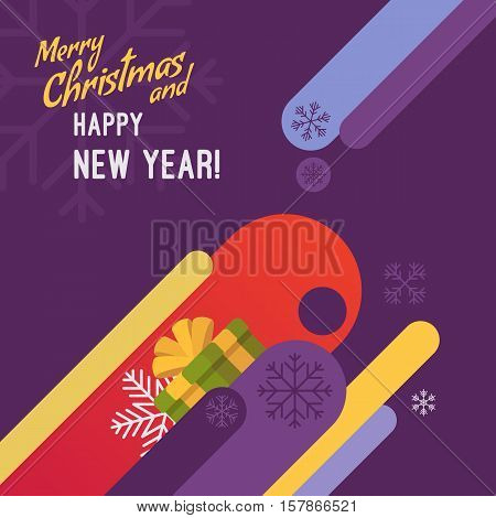 New Year and Christmas card with copyspace for texting. Purple background, gifts and abstract shapes. Cartoon vector flat-style graphic template