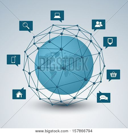 Network connection abstract design background vector eps 10