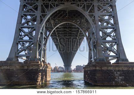 Arch under Williamsburg Bridge in Manhattan, New York