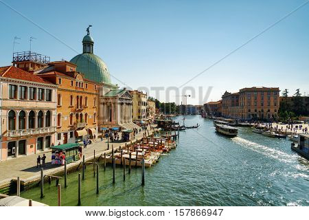 The Grand Canal And The San Simeone Piccolo In Venice, Italy